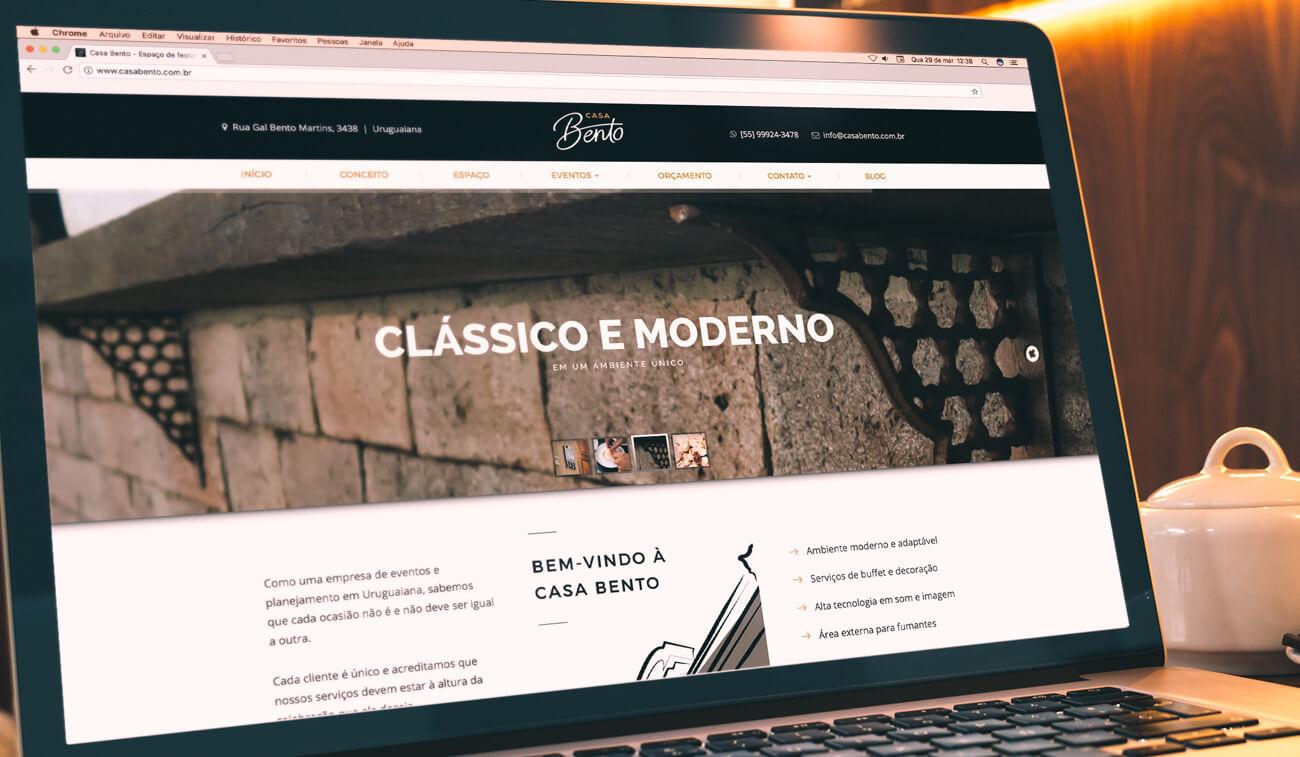 Website institucional responsivo da Casabento Uruguaiana por Bedez Comunicação Porto Alegre