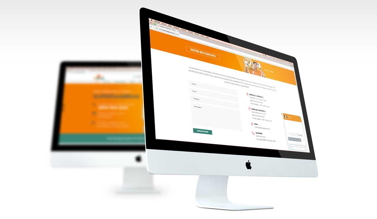 telas do site da Forte Gás, chat online, criação de site Porto Alegre