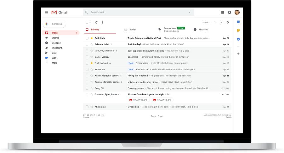 Caixa de entrada do Novo Gmail permite visualizar anexos
