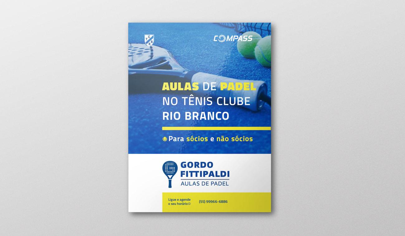 Cartaz Folder professor de padel tenis Criação de Marca - Gordo Fittipaldi Aulas de Padel