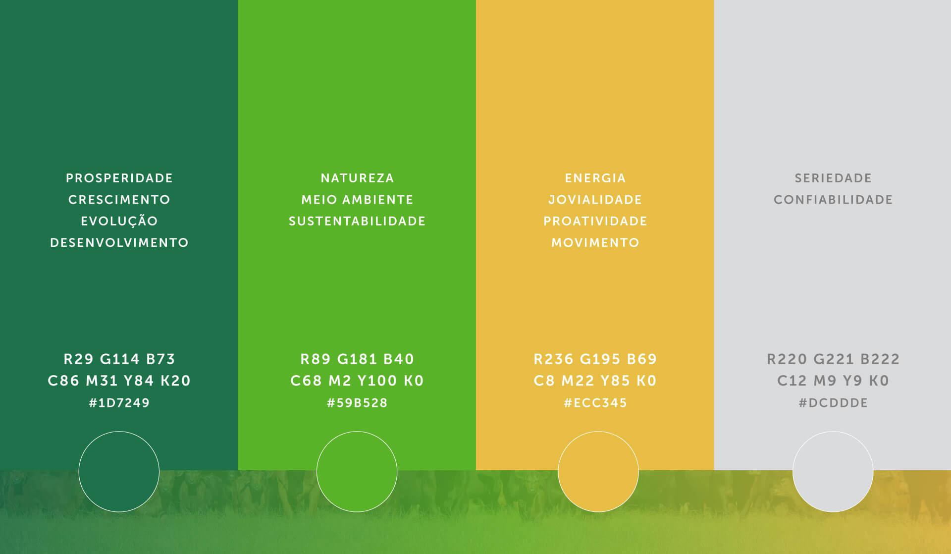 paleta de cores do Instituto Desenvolve Pecuária por Bedez Comunicação
